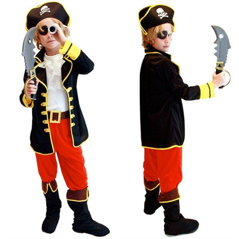 Costumes de fête des enfants enfants garçons Costume de Pirate ensemble de Cosplay pour les enfants noël nouvel an pourim pour les enfants enfants (pas d'armes)