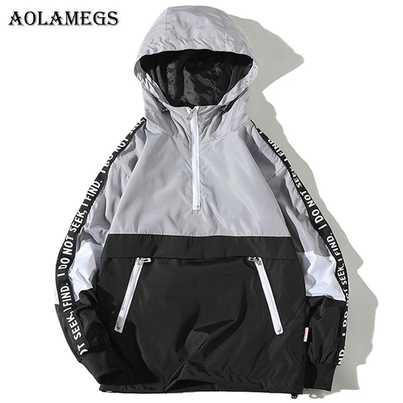 Aolamegs Jackets Men Patchwork Side Letter Hooded Jacket Tracksuit High Street Coats Hip Hop Male Streetwear Couple Windproof