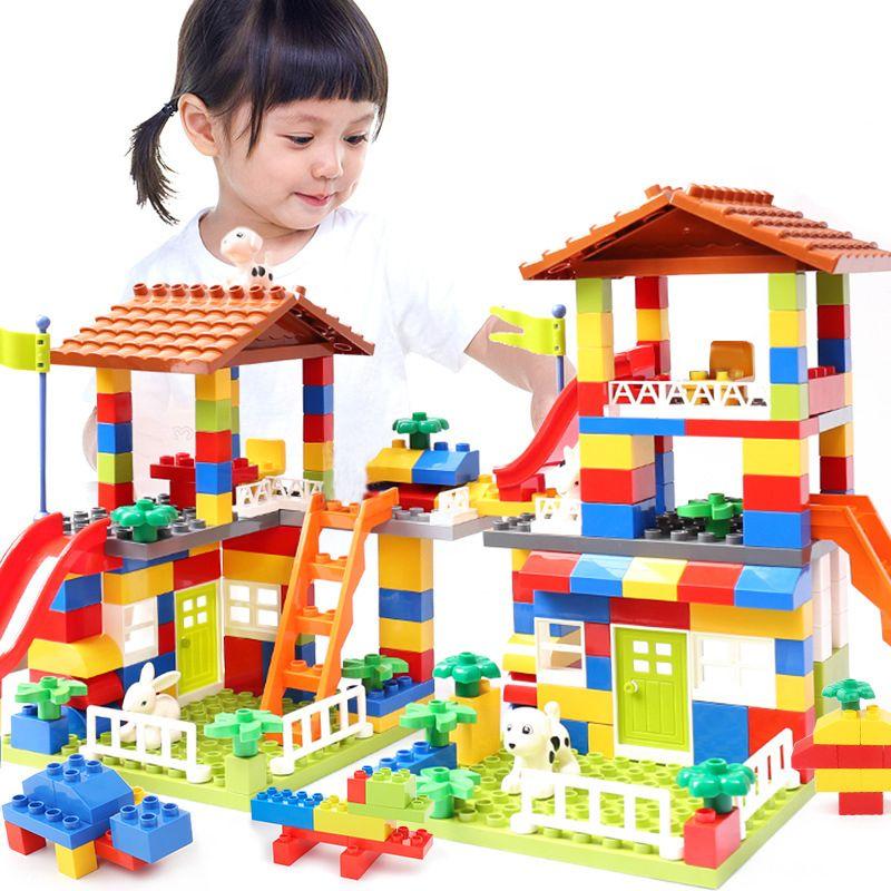 Blocs de diapositives de grande taille compatibles LegoINGlys Duploed City House toit gros blocs de construction de particules château briques jouets pour enfants