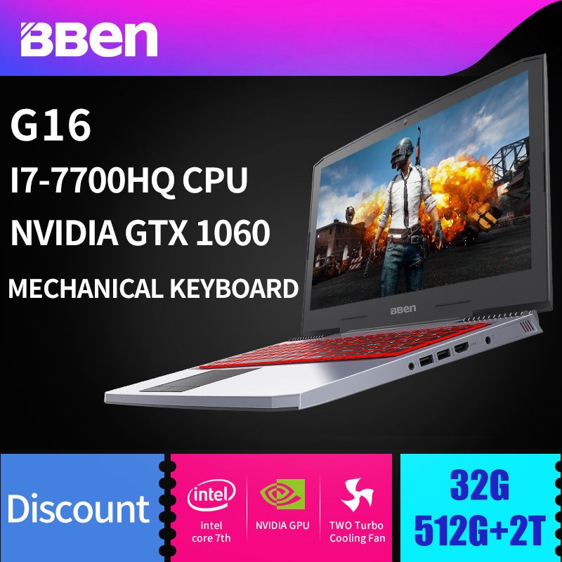 BBEN G16 Win10 Gaming Laptop 1920*1080 IPS Intel I7 7700HQ Kabylake NVIDIA GTX1060 8G/16G/32G RAM Memory +SSD HDD WIFI Backlit