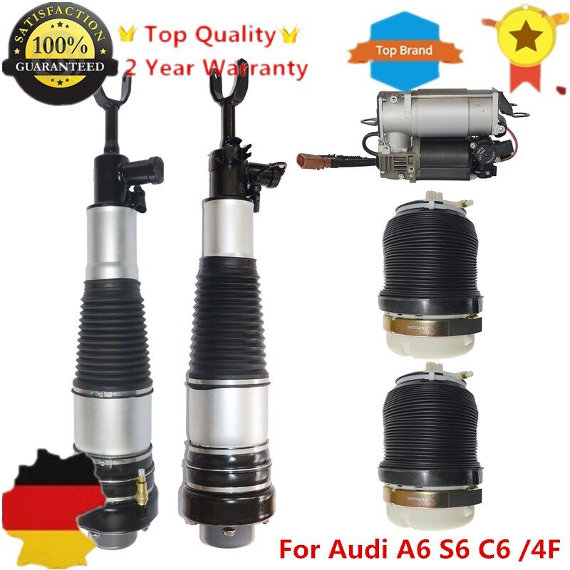 4 pieces Front Rear Air Struts + Compressor For Audi A6 S6 C6 /4F 4F0616005 4F0616039AA 4F0616001J