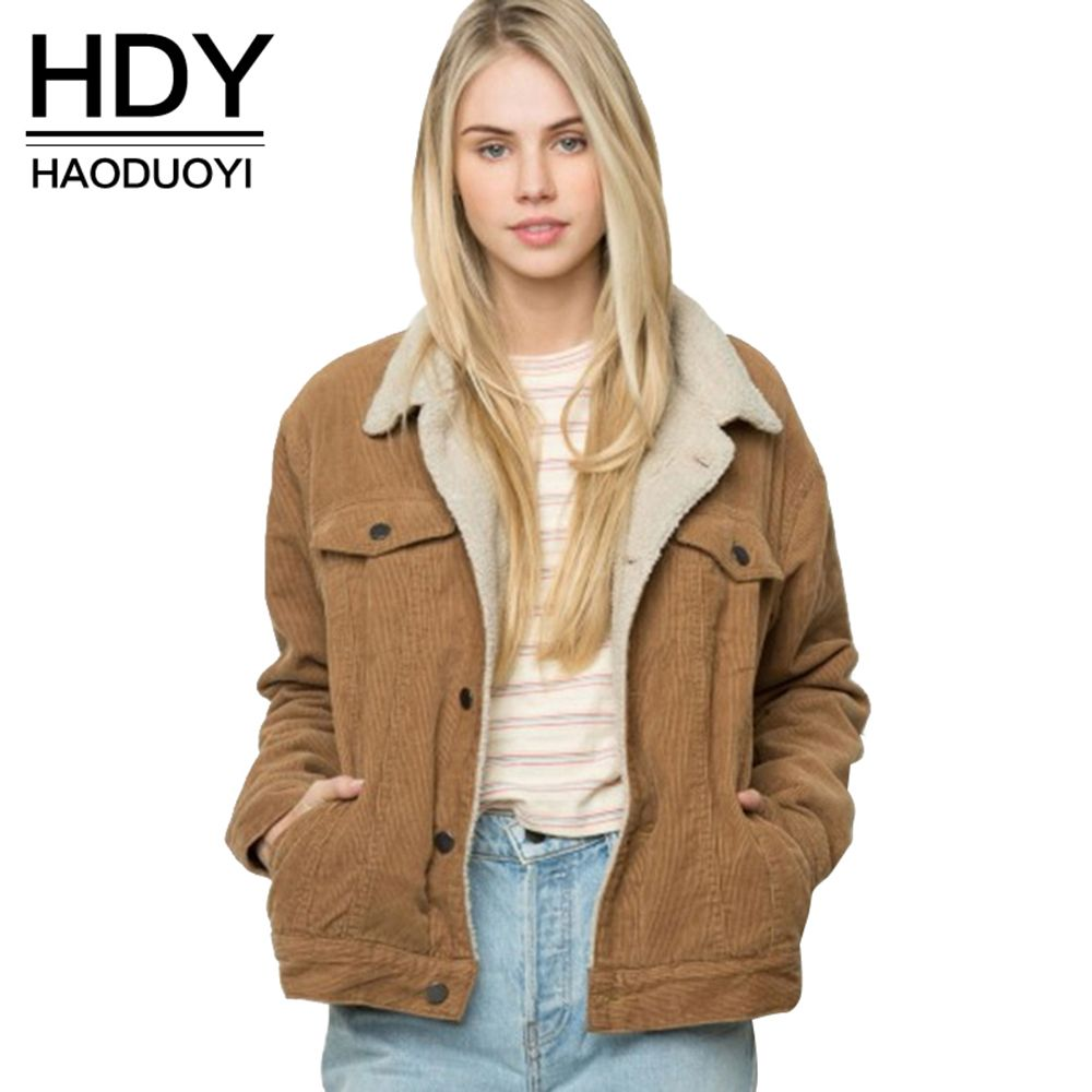 HDY Haoduoyi Winter Womens Brown Corduroy Jacket Long Sleeve Turn-down Collar Jacket Coat Single Breasted Basic Women Warm Coat