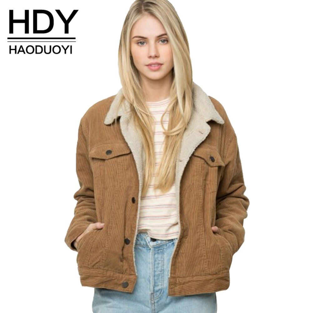 HDY Haoduoyi Winter Casual Brown Corduroy Long Sleeve Turn-down Collar Jacket Single Breasted Basic Women Warm Coat