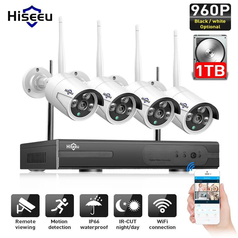 Hiseeu Wireless CCTV camera System 960P 4ch 1.3MP IP Camera waterproof outdoor P2P Home Security System video <font><b>Surveillance</b></font> Kits