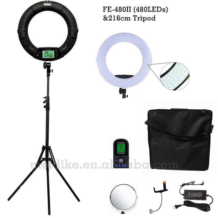 Yidoblo Black FE-480II Two color Adjust Ring Light 480 LED Video Makeup Lamp Photographic broadcast Light +2M stand+Soft case