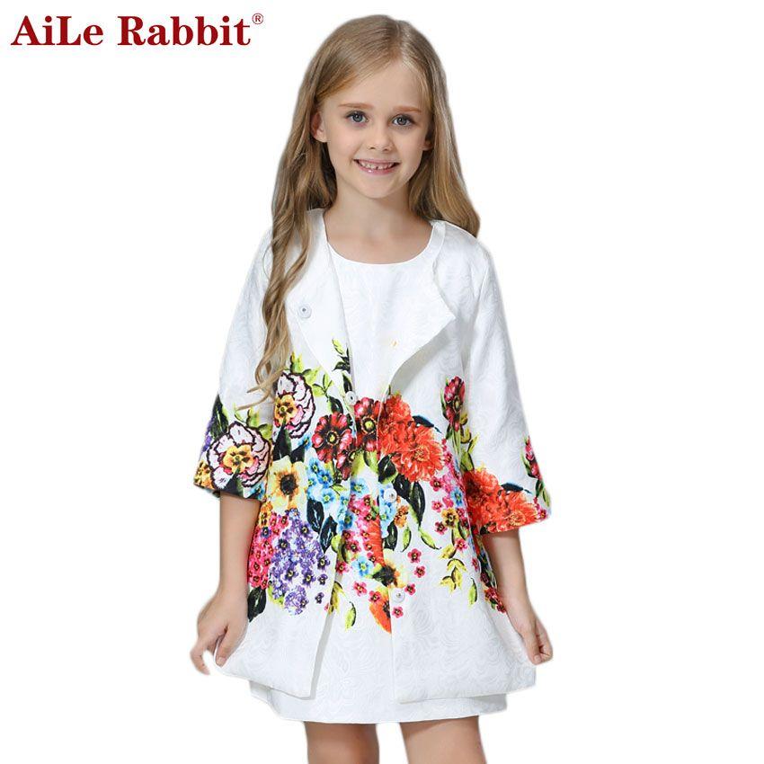 AiLe Rabbit <font><b>Girls</b></font> Clothing Sets 2017 Brand Winter <font><b>Girls</b></font> Clothes Graffiti Printing <font><b>Girls</b></font> Outerwear+<font><b>Girls</b></font> Dress for Chindren 3-8Y