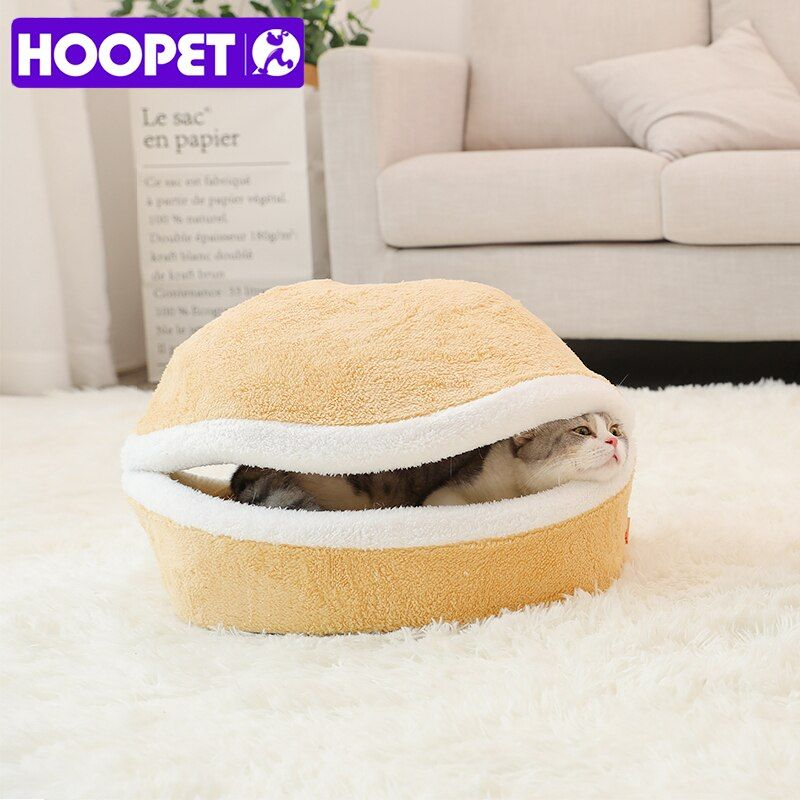 HOOPET Warm Cat Bed House Hamburger Bed Disassemblability <font><b>Windproof</b></font> Pet Puppy Nest Shell Hiding Burger Bun for Winter