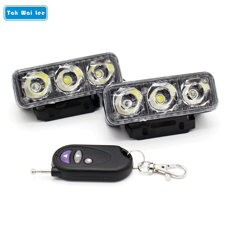 Tak Wai Lee 2x IR télécommande LED stroboscope Flash avertissement DRL feux de jour 12 Modes dynamique voiture style brouillard lampe de travail
