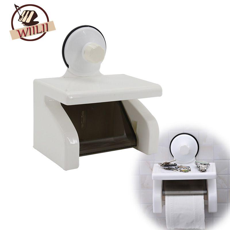 En plastique Ventouse Rouleau De Papier Toilette Titulaire Boîte De Rangement Suspendus Organisateur Salle De Bains Outil