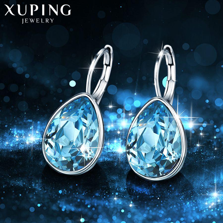 Xuping charme boucles d'oreilles colorées saint valentin saint valentin cadeaux cristaux de Swarovski pour les femmes cadeaux XE2108