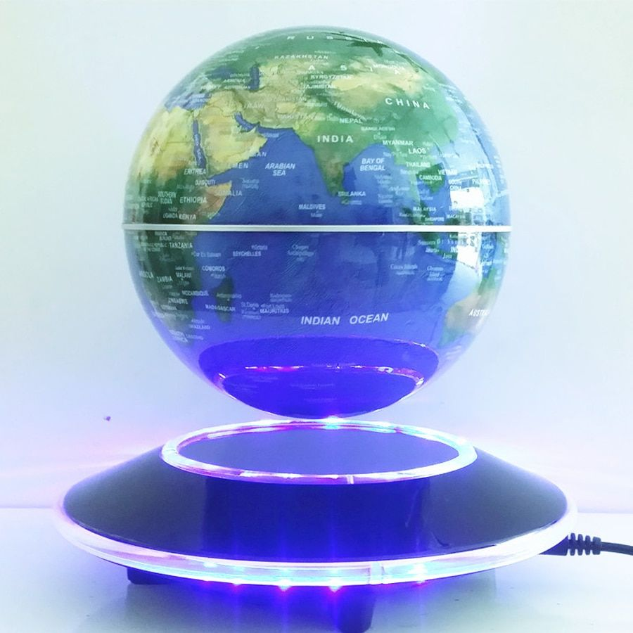 6 Inch Electronic Magnetic Levitation Floating Globe World Map with LED Lights Home Office Decoration Business Gift New