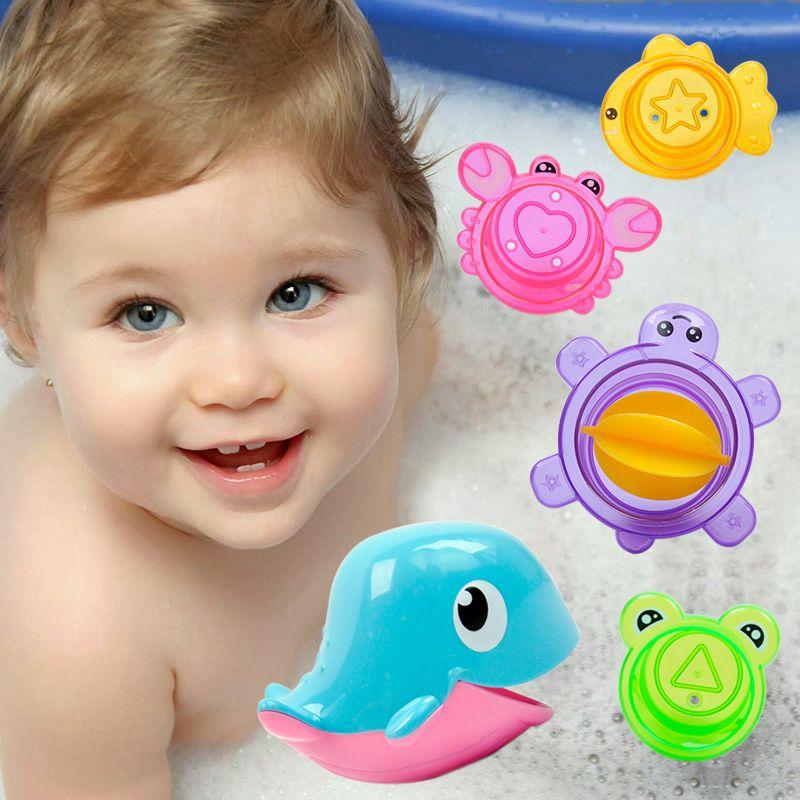 Animales Juguetes de Baño para Niños Delfín Tazas Apilables Conjunto Temprana educación Bebé de Juguete de Baño Ducha de Agua Tortuga Cangrejo Peces Rana D50
