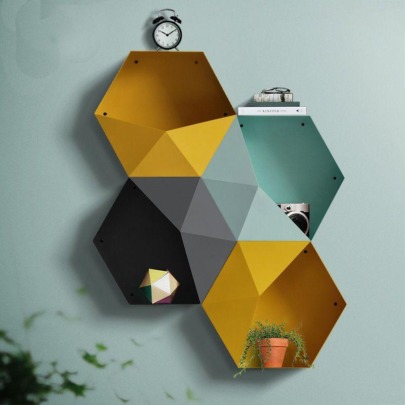 Collalily Nordic Wanddekoration Magazin Lagerung diamant metall kleinigkeiten Speicher-halter Racks Moderne Design Kleiderbügel korridor geometrische