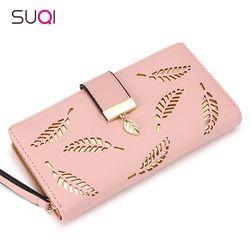 2018 mujeres monedero mujer cartera larga oro Hollow hojas bolsa bolso para las mujeres tarjeta monedero Portefeuille Femme