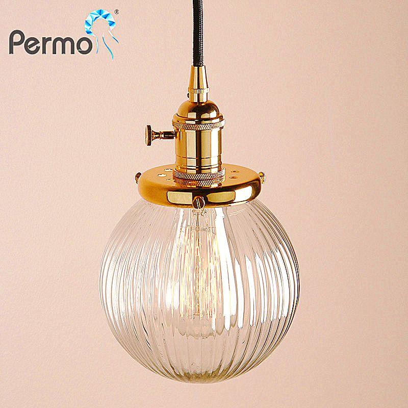 Permo Modern 5.9'' Clear Globe Glass Pendant Ceiling Lamps Pendant Lights E27 Hanglamp Luminaire Living Room Loft Lights Fixture