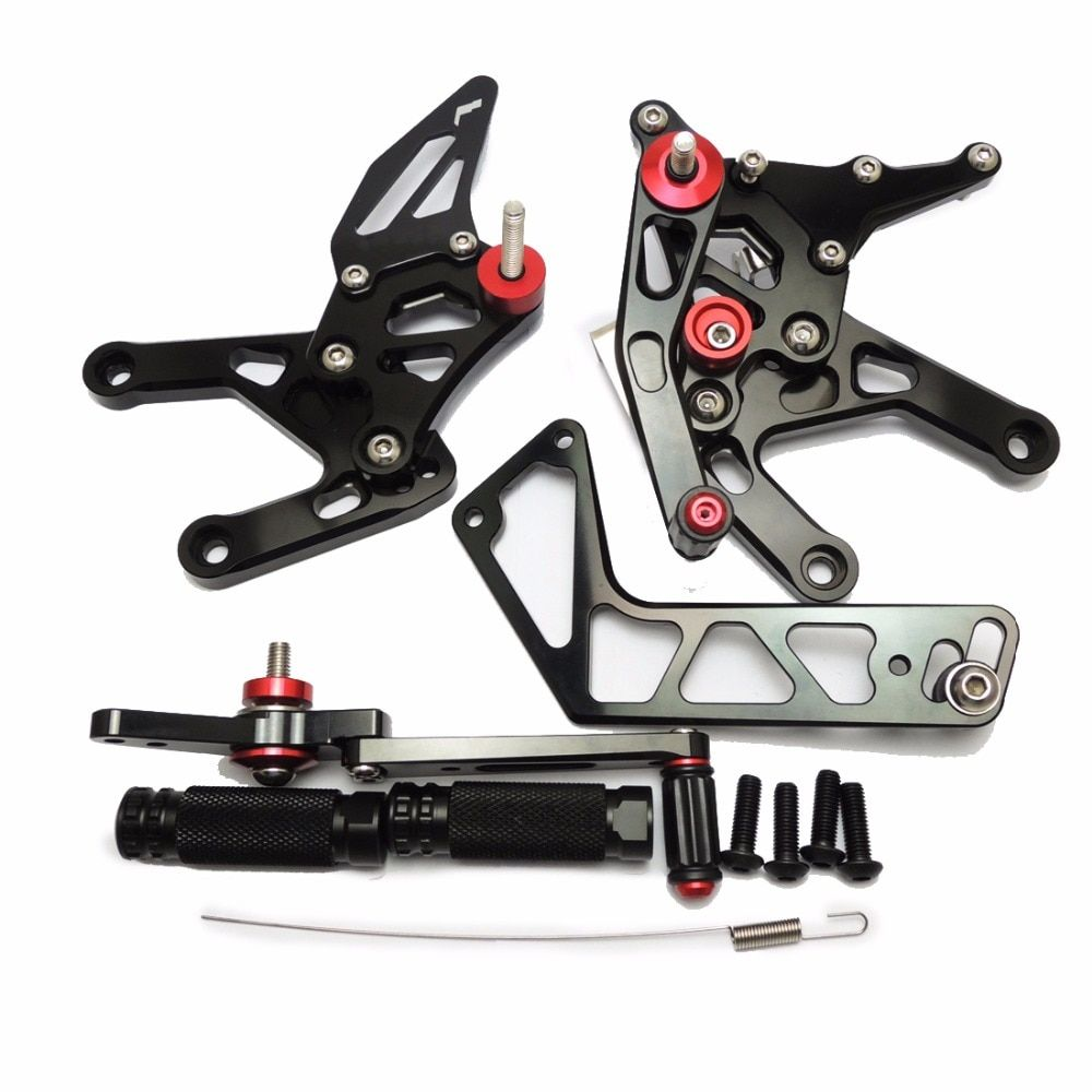 KEMiMOTO YZF R1 2015 2016 Black Rear Sets For Yamaha YZF-R1 2015 2016 R1 CNC Adjustable Rearsets Foot Rests Pegs 100% Brand New