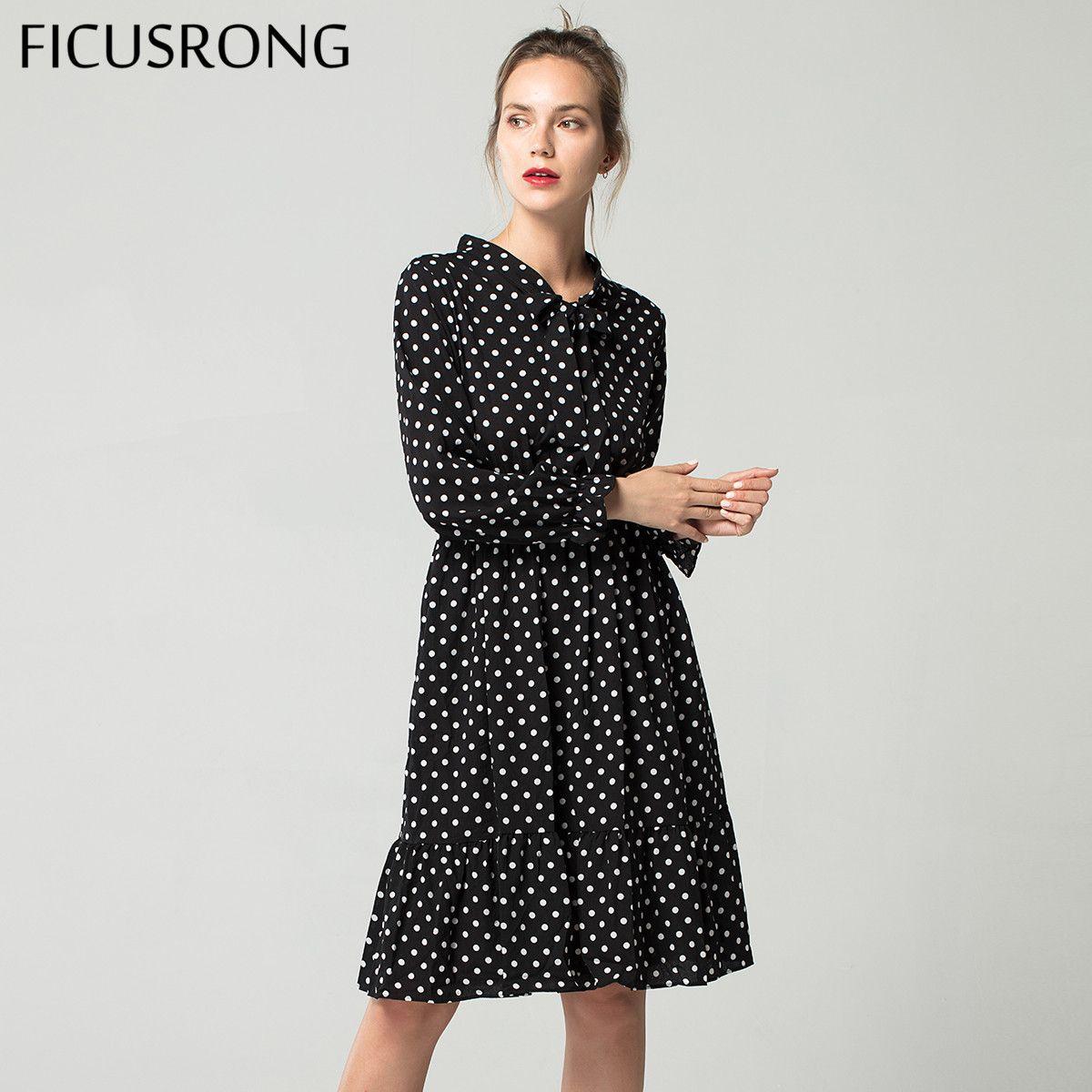 2019 printemps mousseline de soie chemise robes bureau à pois Vintage robe femmes à manches longues été Midi Floral robe femelle FICUSRONG