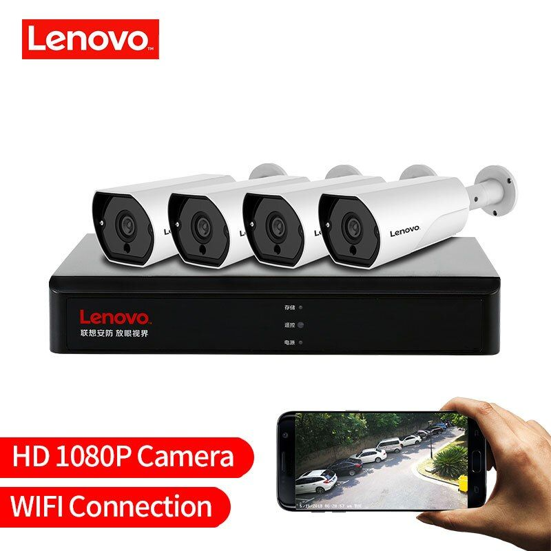 LENOVO 4CH 1080 P POE NVR Kit 2.0MP HD CCTV Sicherheit kamera System Audio monitor IP Kamera P2P Outdoor Video überwachung System