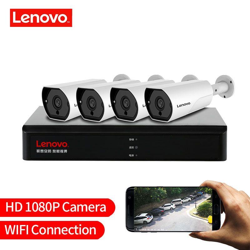 LENOVO 4CH 1080 P POE NVR Kit 2.0MP HD CCTV Sicherheit kamera System Audio monitor IP Kamera P2P Outdoor Video überwachung System