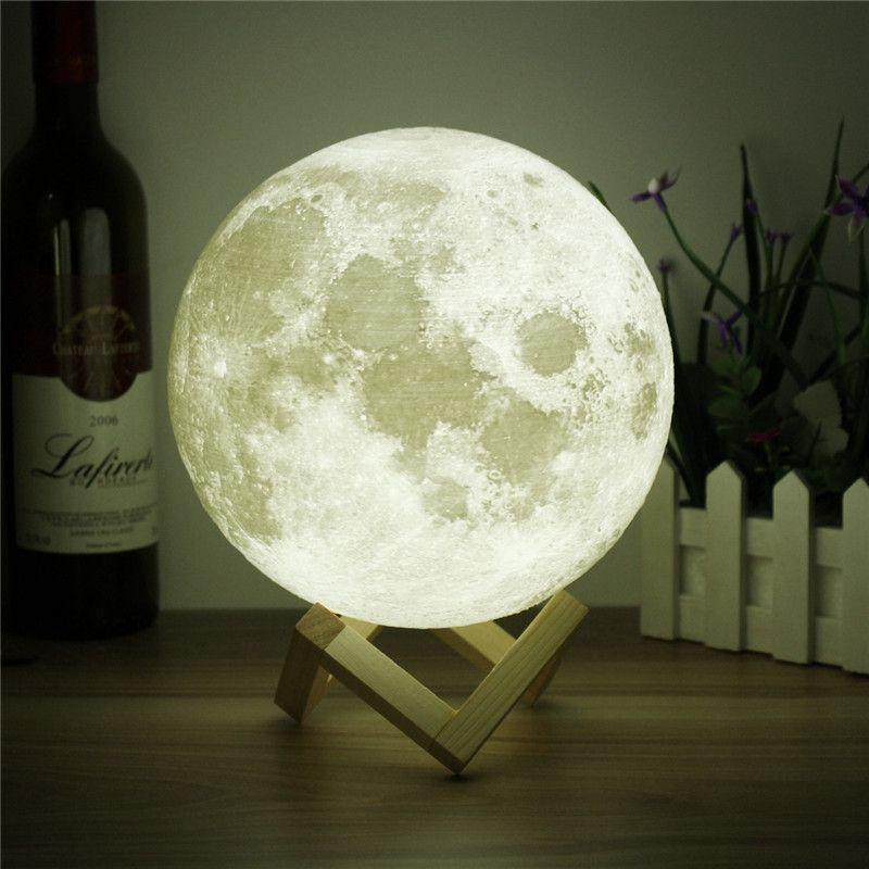 Nouveauté 3D Pleine Lune Lampe LED Night Light USB Rechargeable Changement de Couleur Bureau Table Lumineuse Décor À La Maison 8/10/12/15/18/20 cm