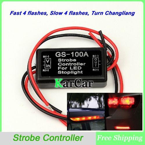 12V Car Flash Strobe Controller Flasher Module for LED Additional Brake Lights Stop Lights, Motorcycle Brake Light Bulbs
