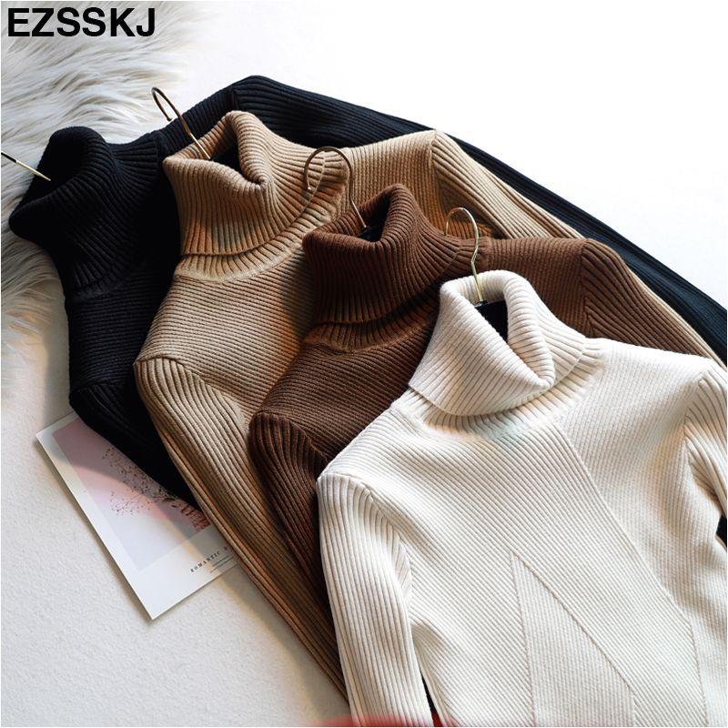 Chic automne hiver épais pull pulls femmes à manches longues décontracté chaud basique pull à col roulé femme tricot pulls haut
