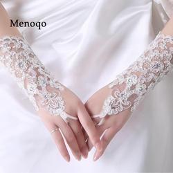 2018 Dalam saham Opera Sarung Tangan Pengantin Jari Manik-manik Putih sarung tangan pengantin pernikahan aksesoris