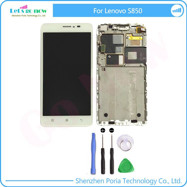 100% Test LCD Display With Touch Screen Digitizer Assembly With Frame For Lenovo S850 LCD Screen Replacement Part+Tools