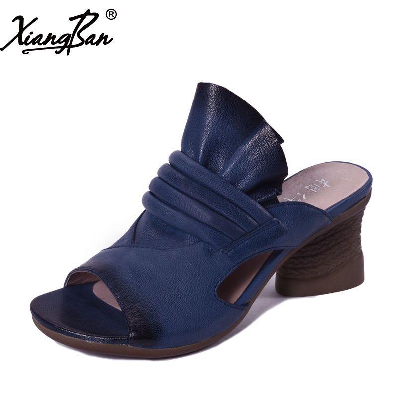 Marke High Heel Sandalen Frauen Hausschuhe Flip-Flops Peep Toe Sommer Damen Schuhe Aus Weichem Leder Handgemachte Xiangban