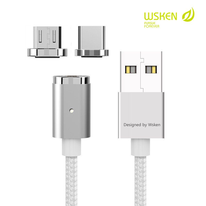 WSKEN 2in1 Magnetic Type C Micro USB Data Cable Fast Charging Magnet Charger Adapter For Samsung Xiaomi Huawei Sony Nokia Cable