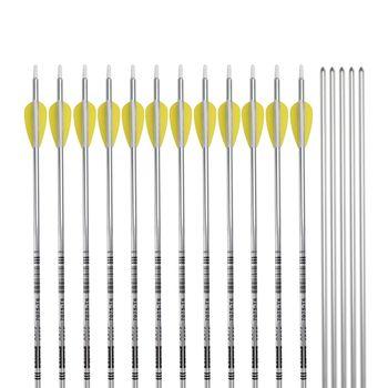 Aluminum Arrow Silver Color 7075-T6 Plactic Fletch Screw Field Point Archery Bow