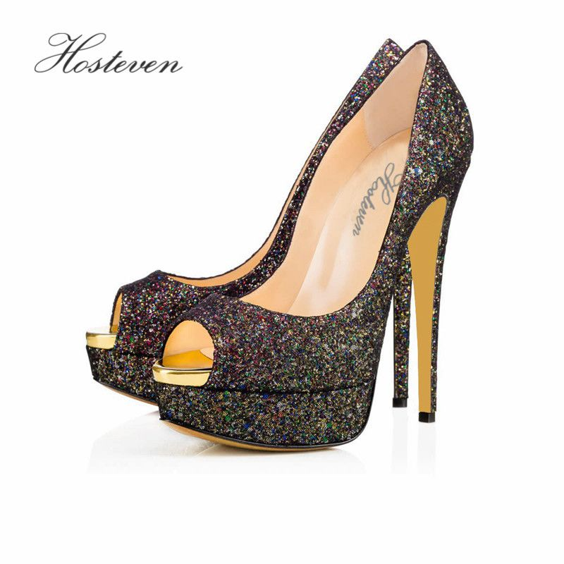 Hosteven Women Shoes Pointed Toe Pumps Bling Leather Shoes High Heels Sandals Shoes Wedding Shoes Size 34-46