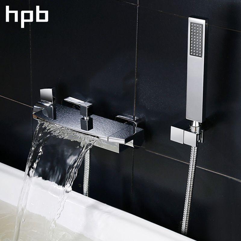 HPB Hot Sale Brass Polish Chrome Bathroom Bathtub Bath & Shower Faucet Set Hot And Cold Mixer Tap Dual Handle BU-5401