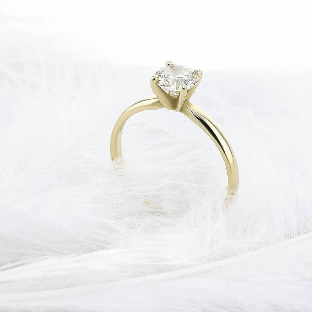 Solid 14K Yellow Gold Round Brilliant Cut 0.5 ct Moissanite 4 Prong Ring Solarite Lab Diamond Engagement Ring For Women