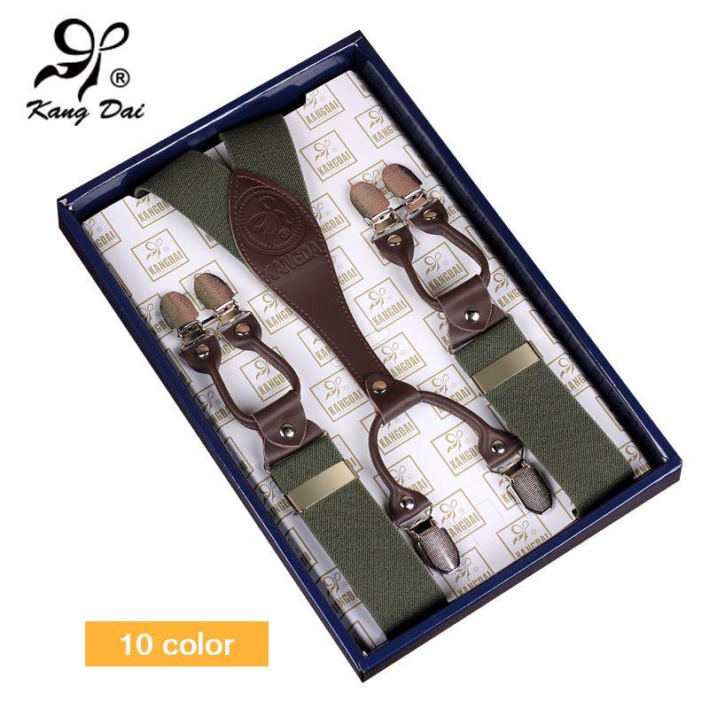 Kangdai 2017 Для мужчин Подтяжки для женщин широкие регулируемые кожаные штаны Brace сплав 6 Зажимы мужской Повседневное эластичный чулок на bracemf604