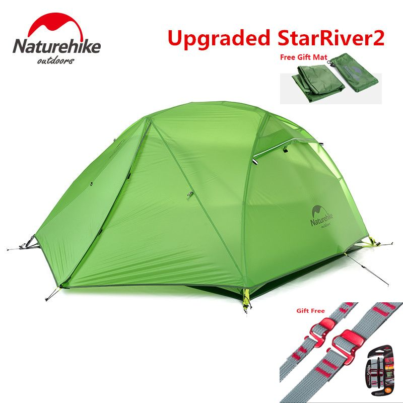 NatureHike Factory sell Starriver2 upgraded ultralight 20D Silicone Fabric Waterproof Double-Layer 2 Person Outdoor Camping Tent