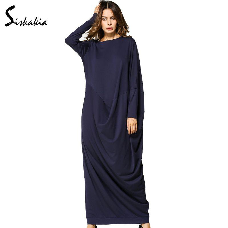 Siskakia manches longues Maxi longue robe nouveau automne 2017 lâche grande taille drapée patchwork conception Dubai eau femme robes dames tuniques