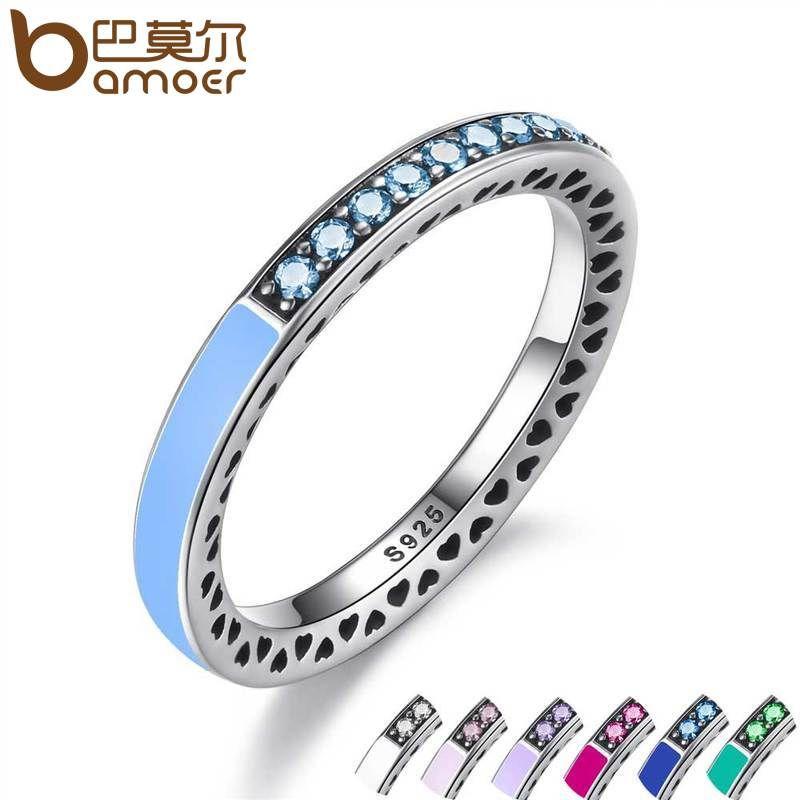 Bamoer 925 Plata de compromiso radiante corazones anillo esmalte azul del aire y cielo azul espinela sintética mujeres anillo joyería PA7620