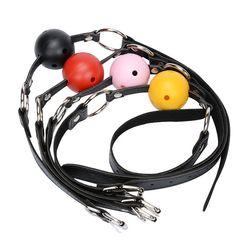 Искусственная кожа кляп для рта мяч подвесной ограничитель эротическая оральная фиксация Фетиш бондаж секс-игрушки для пар сексуальные пр...