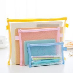 1PC New Practical 6 Colors Transparent Simple Mesh Zipper Stationery File Bag Pencil Case Makeup School Office Supply Storage