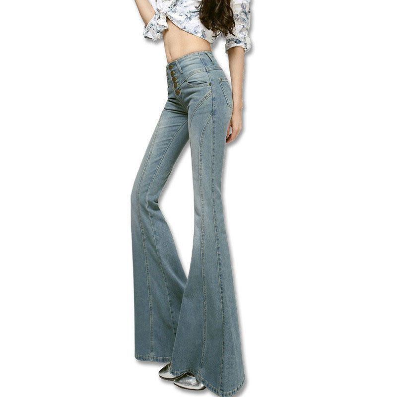 2017 Mode Jeans Femme Taille Haute Jeans Cloche Fond Femmes pantalon Pantalon Boot Cut Denim Pantalon Vintage Large Jambe Flare Jeans