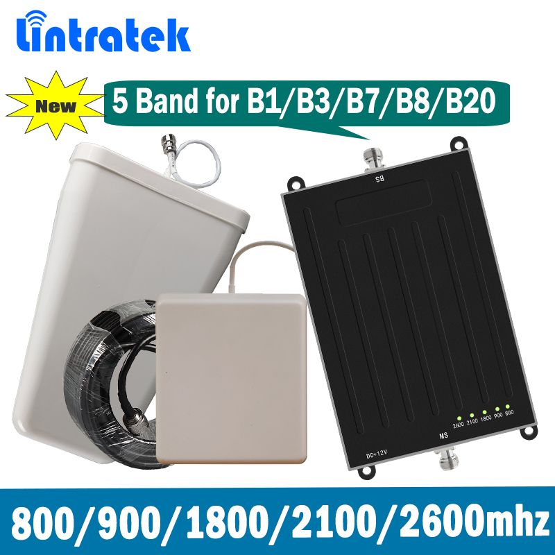 Lintratek 5 Band Signal Booster B1 B3 B7 B8 B20 E-GSM DCS WCMDA LTE 800 900 1800 2100 2600 MHz Mobile Signal Repeater Full Set