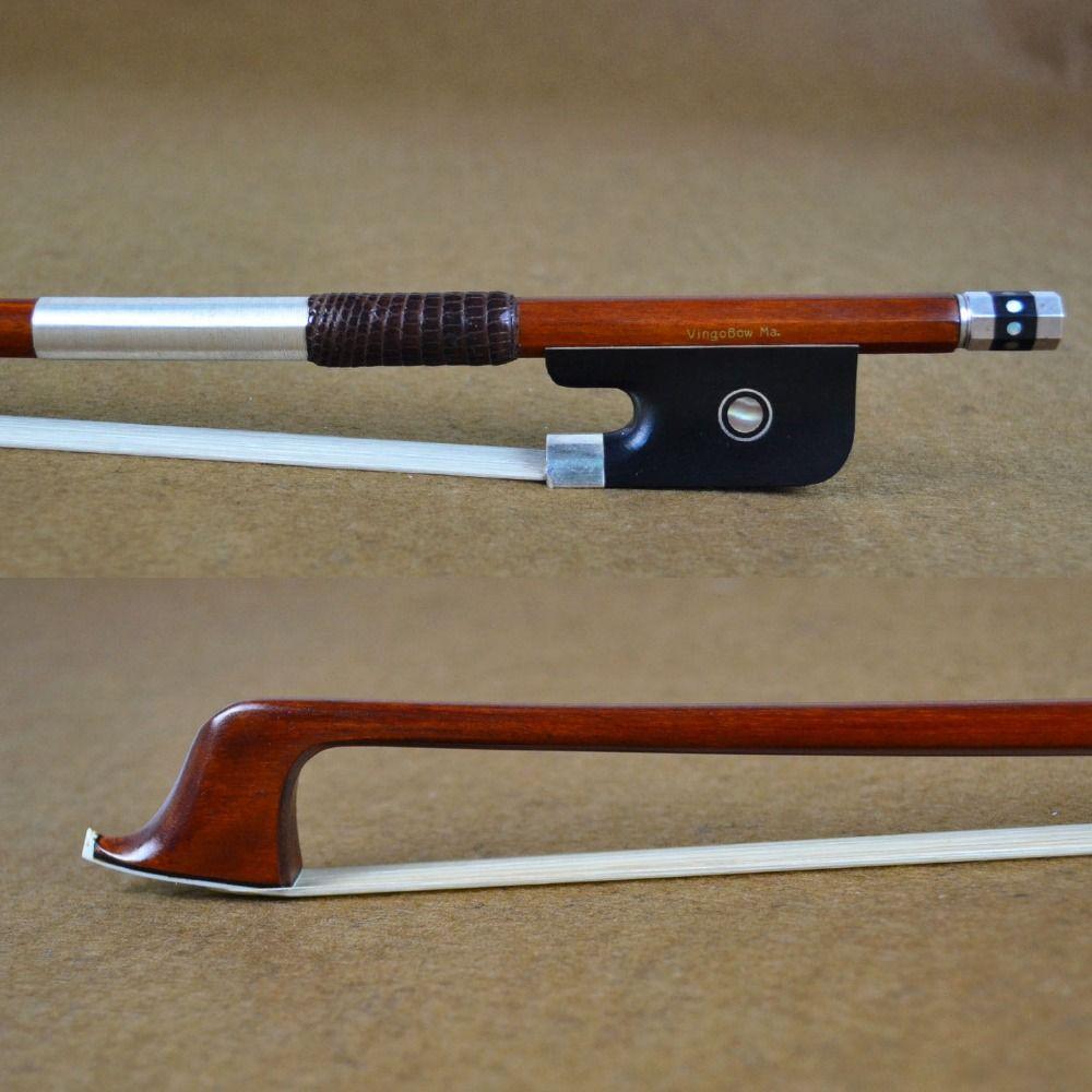 952C 4/4 Größe Tourte Master Pernambuco CELLO BOGEN Ebenholz Frosch Reinem Silber Einbau Natürliche Weiß Rosshaar Cello Teile Zubehör