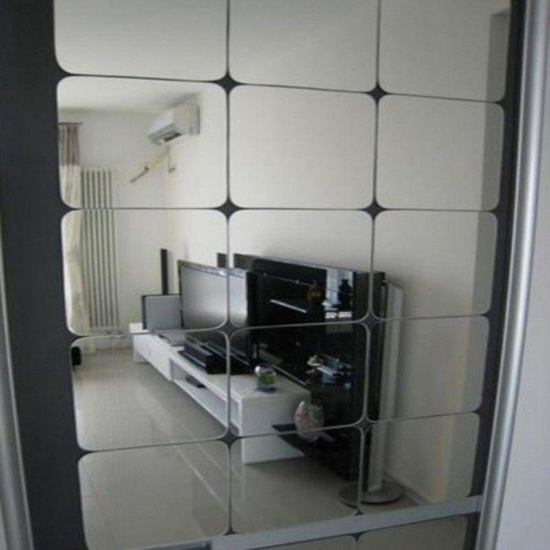 Funlife Haute qualité miroir stickers muraux acrylique 6*15x15 cm stickers carrés salon chambre décoration murale autocollants