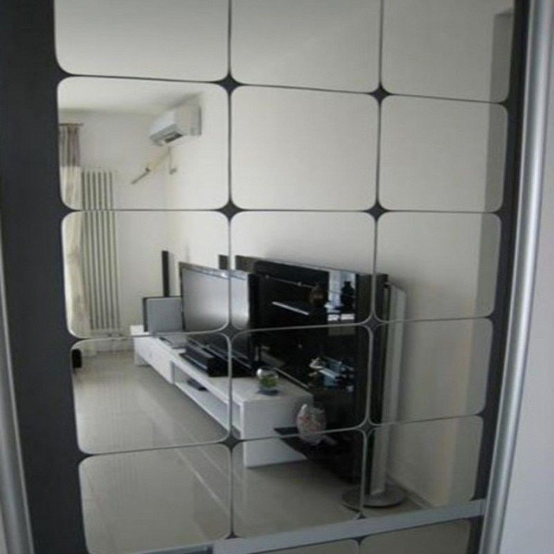 Funlife haute qualité miroir stickers muraux acrylique 6*15x15 cm décalcomanies carré salon chambre décoration stickers muraux
