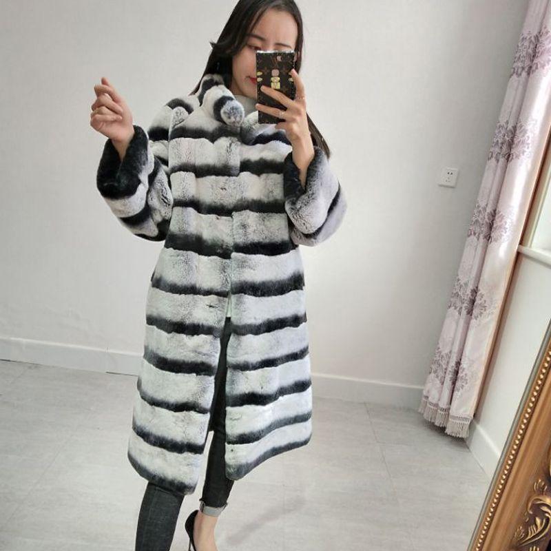 The new Rex rabbit skin blue purple real fur coat The warm woman seven-point shirt wool Long jacket
