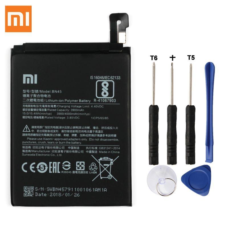 Batterie de remplacement d'origine XIAO mi BN45 pour Xiao mi note2 rouge mi Note 5 Redrice Note5 Batteries de téléphone authentiques 4000 mAh