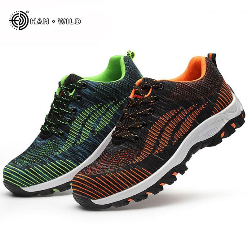 Men Casual Safety Shoes Spring Mesh Lace Up Steel Toe Shoe Men's Puncture Proof Labor Insurance Tenis Work Boots Mens