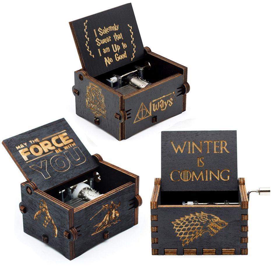 New Black Music Box Zelda Star Wars Happy Birthday Castle In The Sky Hand Cranked Theme Music Birthday Gifts