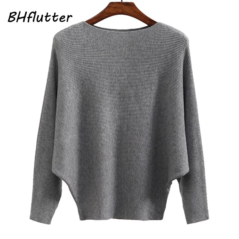 BHflutter Sweater Women Slash Neck Knitted Winter Sweaters Tops Female Batwing <font><b>Cashmere</b></font> Casual Pullovers Jumper Pull Femme 2018
